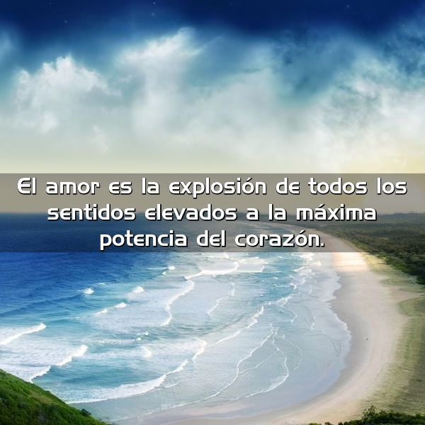 el amor es la explosion de todos los sentidos elevados a la maxima potencia del corazon