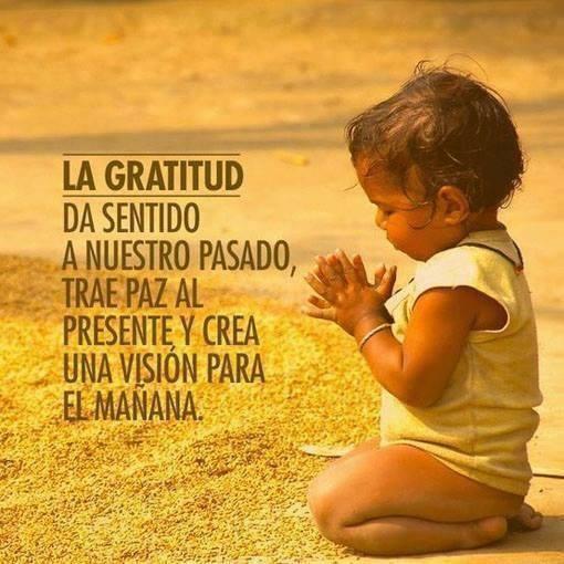 La Gratitud da sentido a nuestro pasado trae paz al presente y crea una visión para mañana