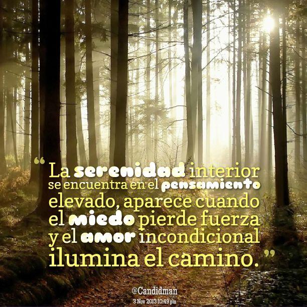 La serenidad interior se encuentra en el pensamiento elevado aparece cuando el miedo pierde fuerza y el amor incondicional ilumina el camino