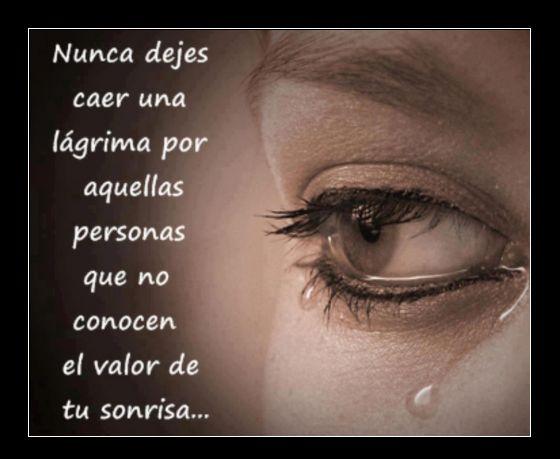Nunca dejes caer una lágrima por aquellas personas que no conocen el valor de tu sonrisa