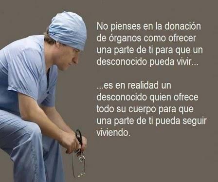 No pienes en la donación de órganos como ofrecer una parte de ti para que un desconocido pueda vivir