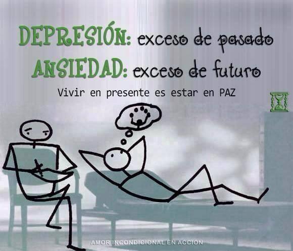 Depresión exceso de pasado ansiedad exceso de futuro vivir en presente es estar en paz