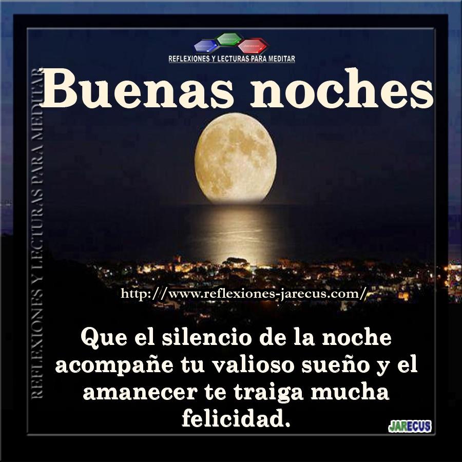 buenas noches que el silencio de la noche acompañe tu valioso sueño y el amanecer te traiga mucha felicidad
