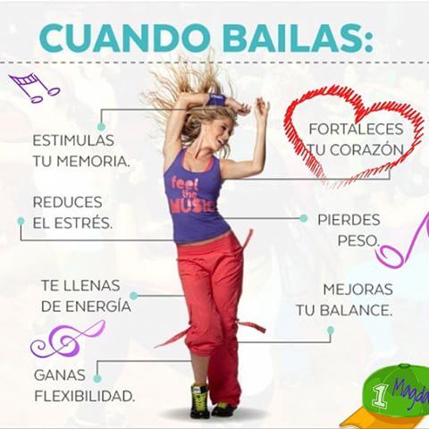 cuando bailas estimulas tu memoria fortaleces tu corazon reduce el estres pierdes peso te llenas de energia mejoras tu balance ganas flexibilidad