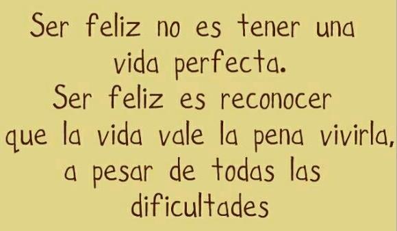 ser feliz no es tener una vida perfecta. ser feliz es reconocer que la vida vale la pena vivirla, a pesar de todas las dificultades